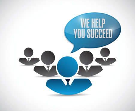succeed: we help you succeed people team sign illustration design over a white background