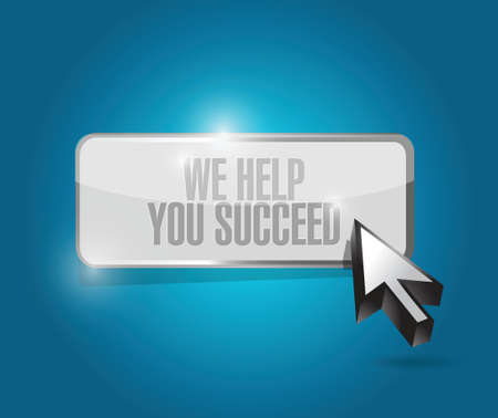 succeed: we help you succeed button illustration design over a blue background
