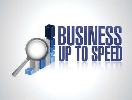 upcoming: business up to speed graph sign illustration design over a white background
