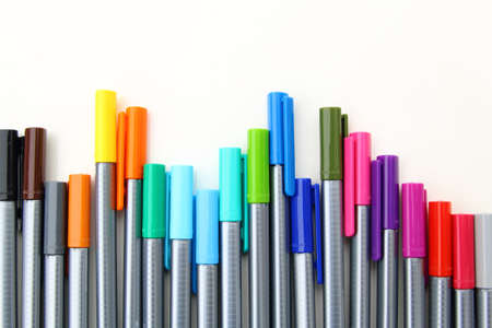 Colorful markers on a white background. isolated