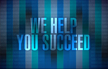 promising: we help you succeed sign illustration design over blue binary background Stock Photo