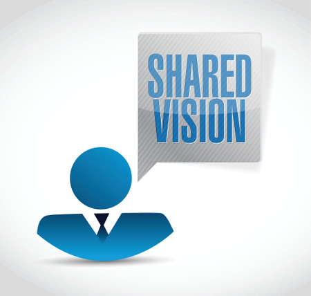 common goals: shared vision people sign illustration design over a white background
