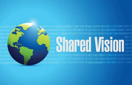 shared vision globe sign illustration design over a blue background