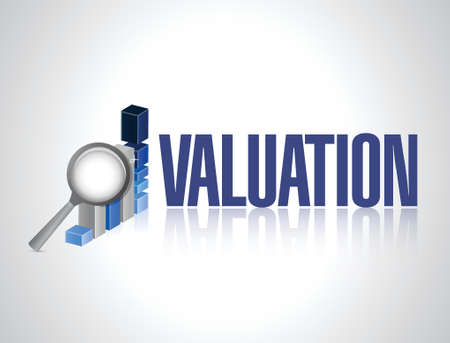 valuation: valuation business graph illustration design over a white background