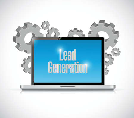 computer generation: lead generation computer gear illustration design over a white background