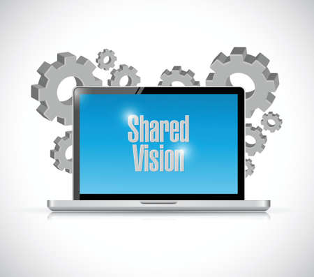 common vision: shared vision computer technology illustration design over a white background