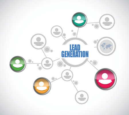 リード ジェネレーション人イラスト デザイン、白い背景の上にネットワーク