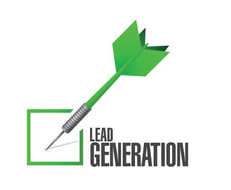 lead generation check dart illustratie ontwerp op een witte achtergrond