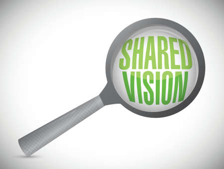 common vision: shared vision magnify glass illustration design over a white background