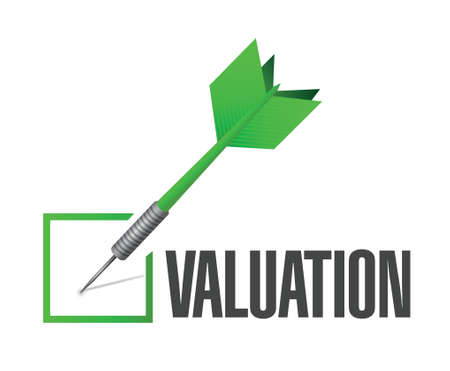 worth: valuation check dart illustration design over a white background
