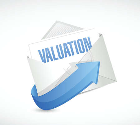 valuation mail illustration design over a white background