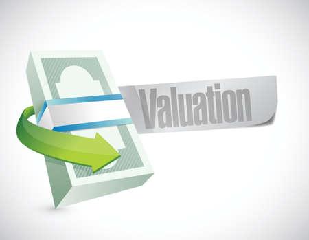 valuation money sign illustration design over a white background Vector