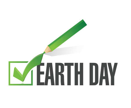 earth day check mark illustration design over white