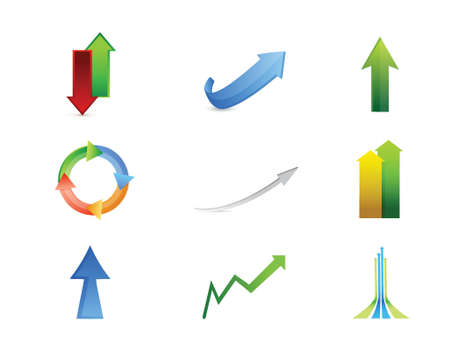 set going: arrows icon set illustration design over white