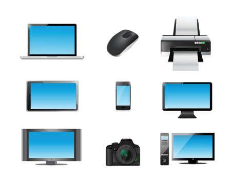 televisor: modern electronics icon set illustration design over white