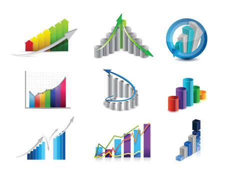 obtain: business graphs icon set illustration design over white