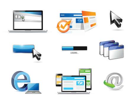 logging: internet. web concept icon set illustration design over white