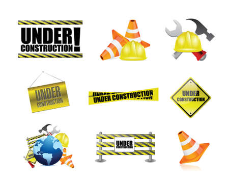 under construction tools icon set illustration design over white Banco de Imagens - 37505043