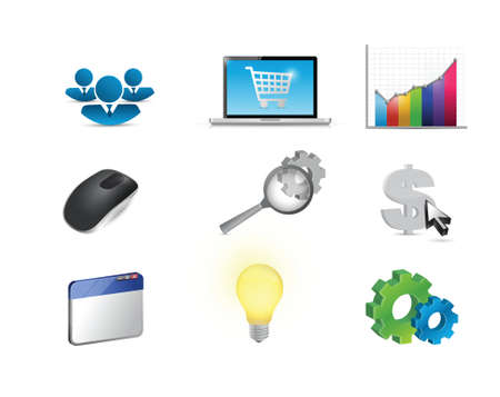 shopping cart icon: affiliate marketing concept icon set illustration design over white Illustration