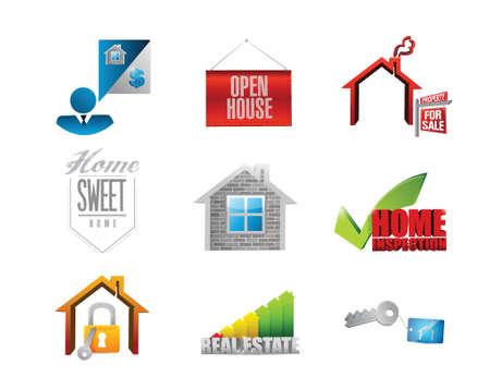 home. real estate concept icon set illustration design over white