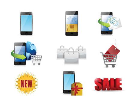 mobile marketing: mobile marketing concept icon set illustration design over white