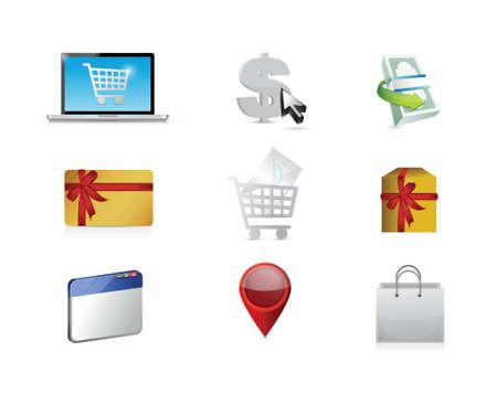obtain: buy. purchasing concept icon set illustration design over white