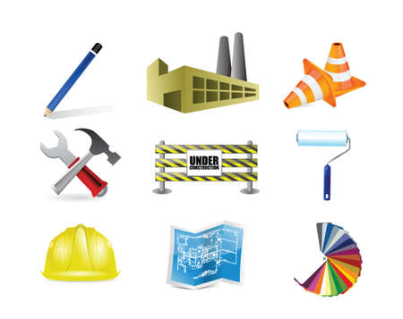 architect or contractor concept icon set illustration design over white