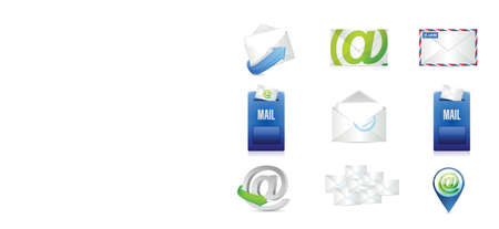 mail, e-mail concept pictogram set illustratie ontwerp op een witte