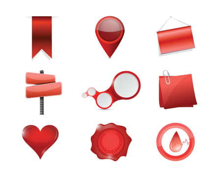 red objects icon set illustration design over white