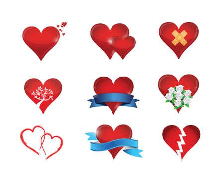 heart icon set illustration design over a white background Иллюстрация