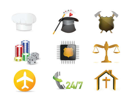 career jobs concept icon set illustration design over a white background Vector