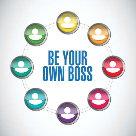 crucial: be your own boss people diagram illustration design over a white background