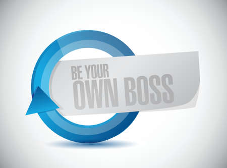 crucial: be your own boss cycle illustration design over a white background