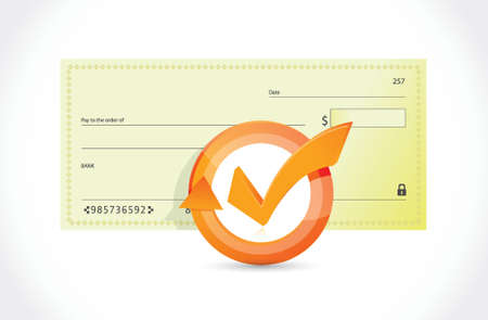 windfall: bank check and check mark cycle illustration design over white Illustration