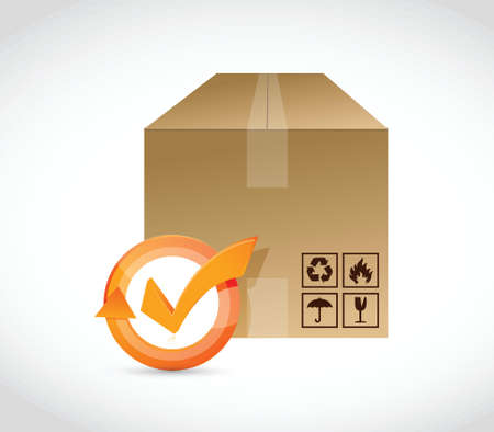 corrugated cardboard: cargo box check mark cycle illustration design over white