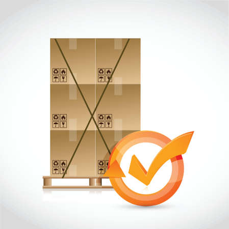 box pallet and check mark cycle illustration design over white