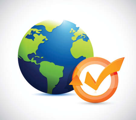 realist: globe and check mark cycle illustration design over white