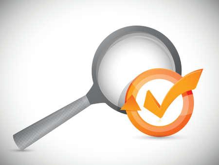 magnify glass check mark cycle illustration design over white Illustration