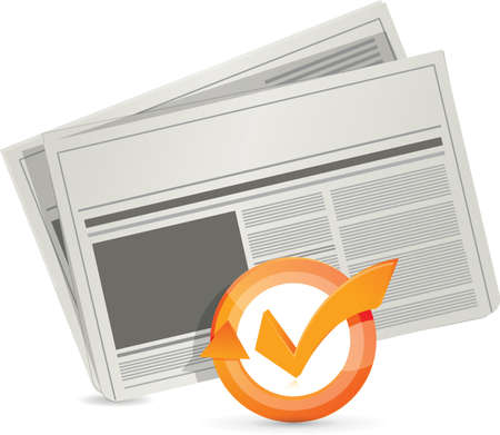 gazette: newspaper check mark cycle illustration design over white
