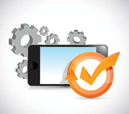 web development: gears and phone check mark cycle illustration design over white