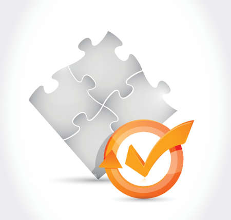complete solution: puzzle pieces check mark cycle illustration design over white