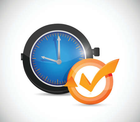 time concept check mark cycle illustration design over white