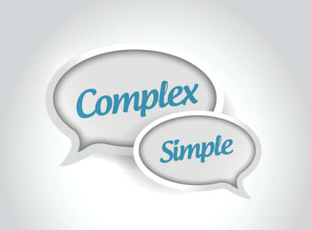complex or simple message bubbles illustration design over white background