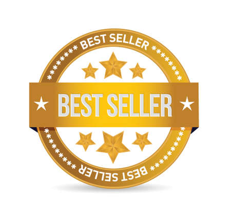 best seller seal illustration design over white background