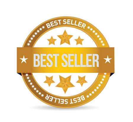 best seller seal illustration design over white background