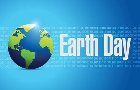 globe earth day illustration design over blue