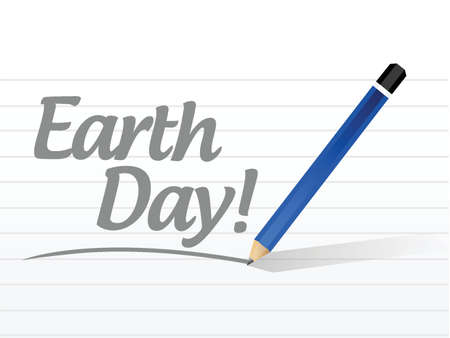 earth day message sign illustration design over white