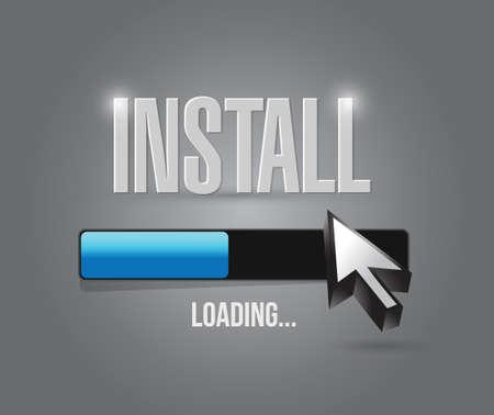 updating: install loading bar illustration design over grey background Illustration