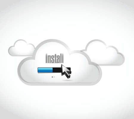 operative system: install loading bar cloud computing illustration design over white background Illustration