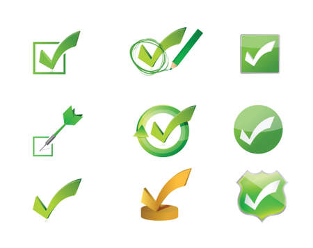approve icon: approve check marks icon set illustration design over white Illustration